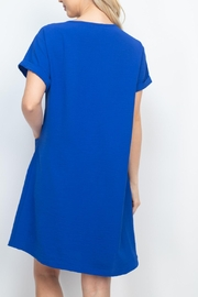 Riah Fashion Rolled-Sleeve-Front-Pocket-Solid-Dress - Side cropped