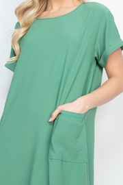 Riah Fashion Rolled-Sleeve-Front-Pocket-Solid-Dress - Front cropped
