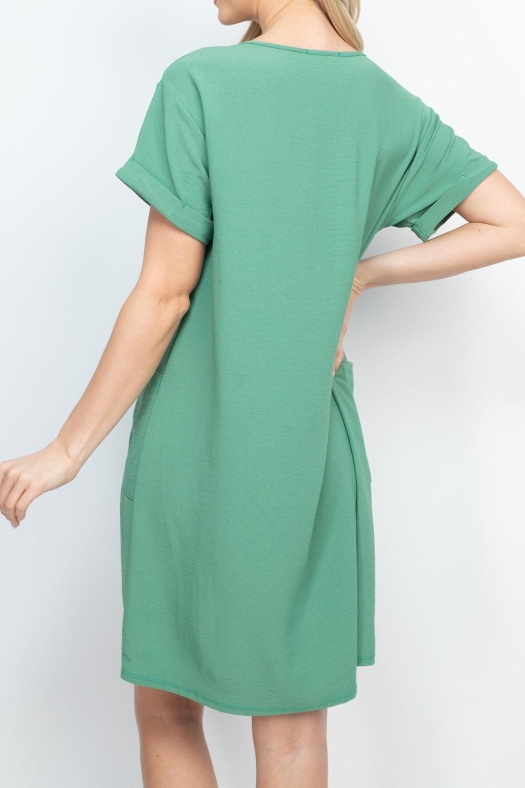 Riah Fashion Rolled-Sleeve-Front-Pocket-Solid-Dress - Back Cropped Image
