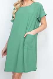 Riah Fashion Rolled-Sleeve-Front-Pocket-Solid-Dress - Front full body