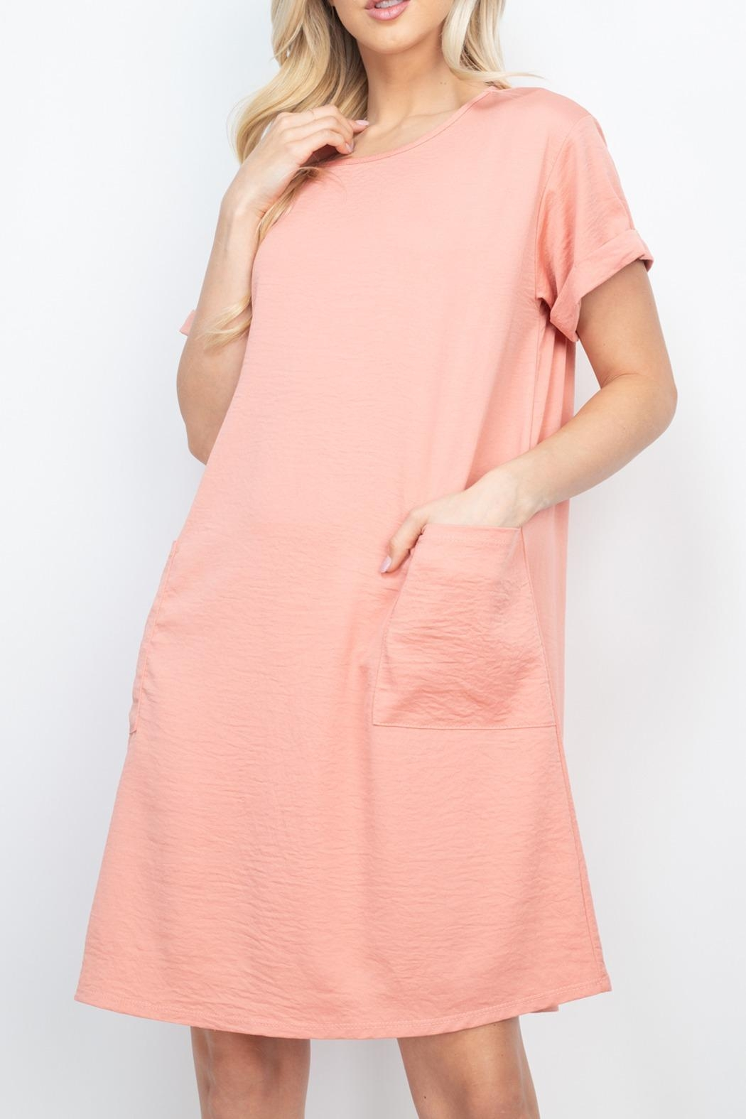 Riah Fashion Rolled-Sleeve-Front-Pocket-Solid-Dress - Front Full Image