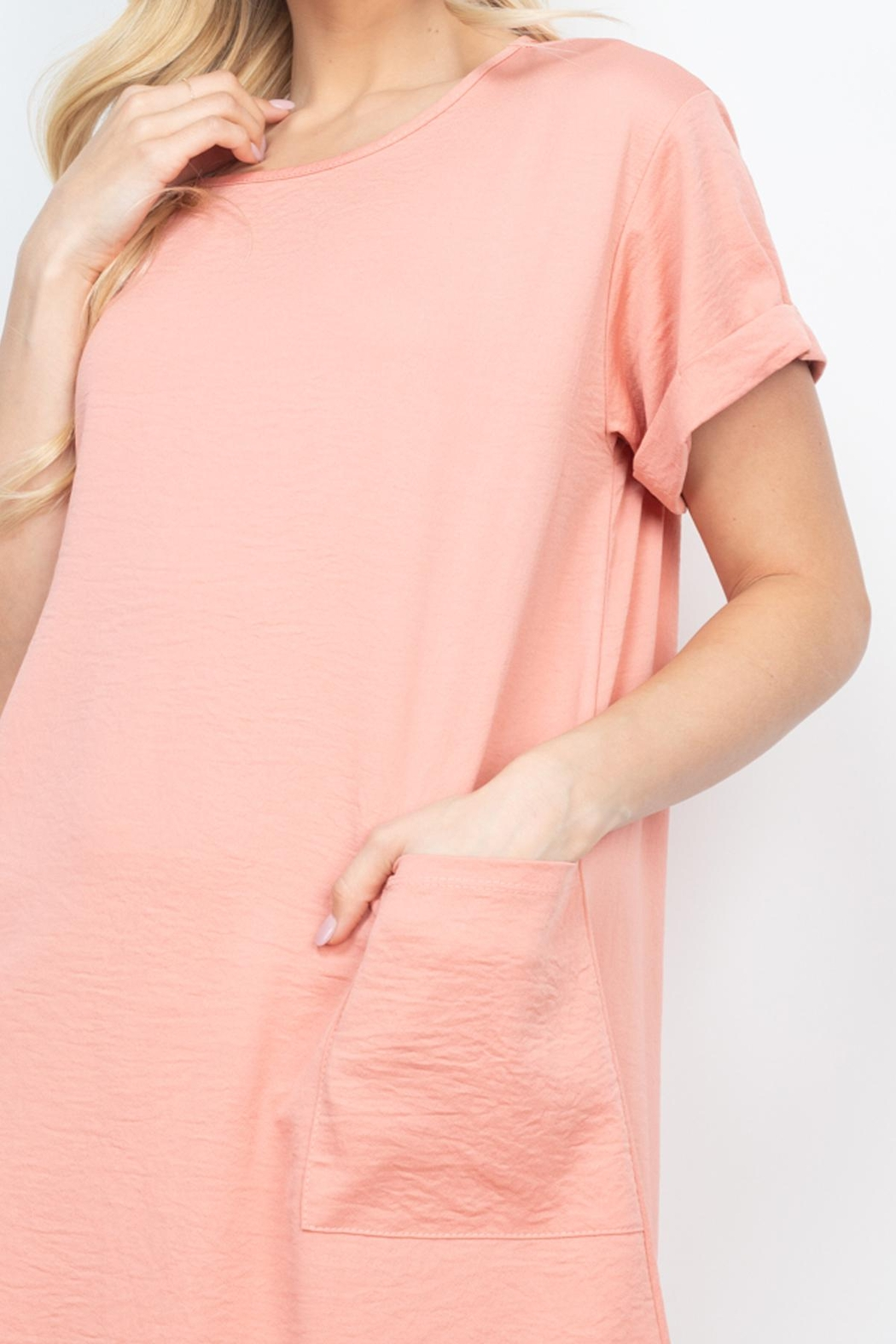 Riah Fashion Rolled-Sleeve-Front-Pocket-Solid-Dress - Front Cropped Image