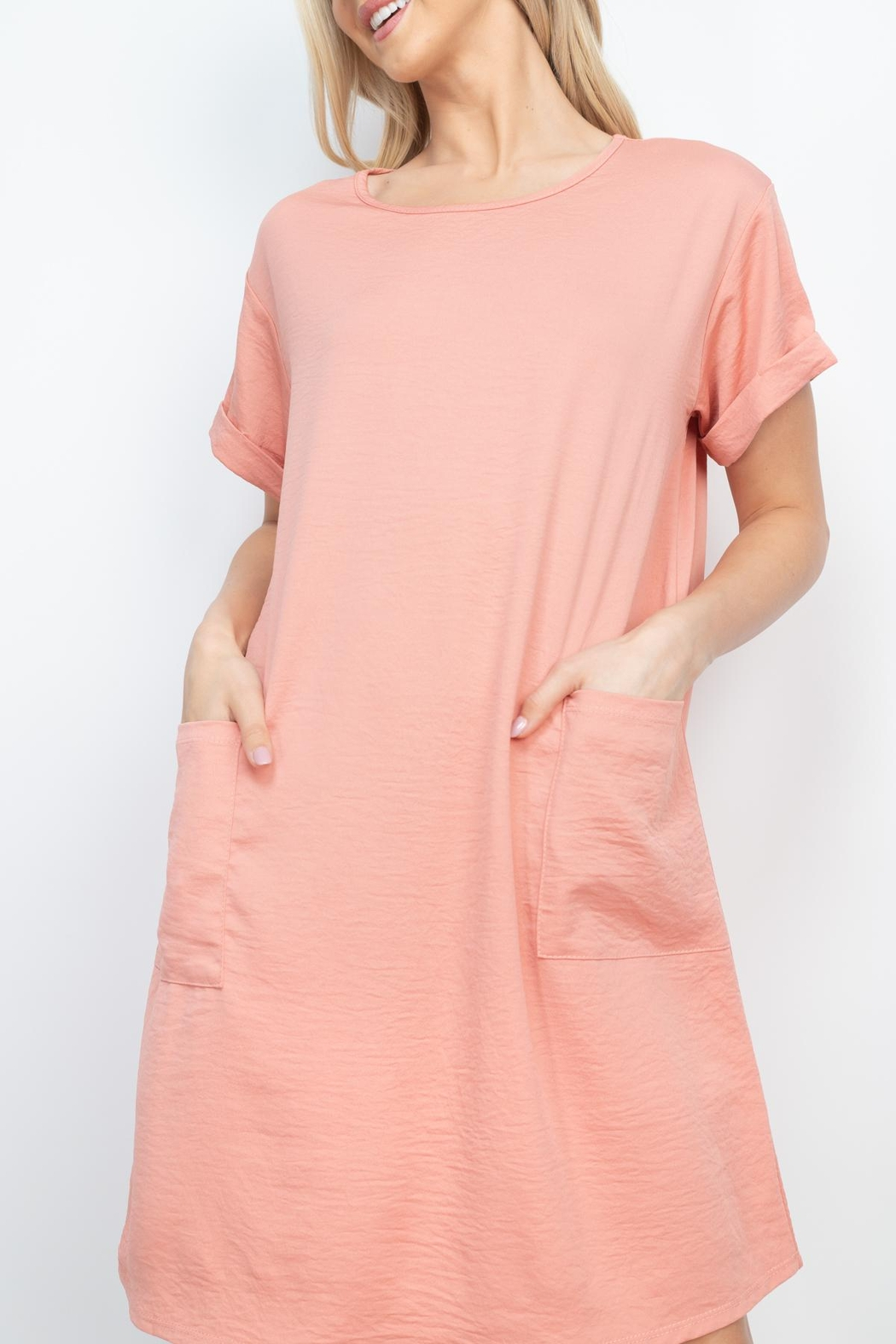 Riah Fashion Rolled-Sleeve-Front-Pocket-Solid-Dress - Side Cropped Image