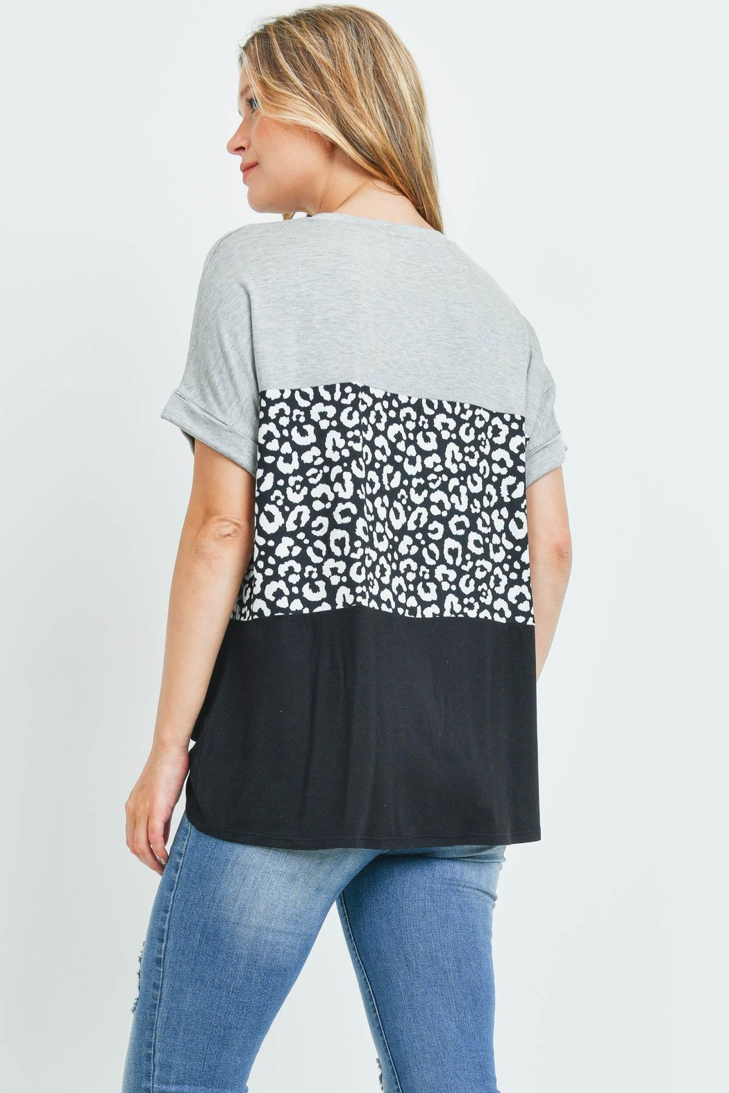 Riah Fashion Rolled-Sleeve-Leopard-Contrast-Top - Front Full Image
