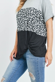 Riah Fashion Rolled-Sleeve-Leopard-Contrast-Top - Back cropped
