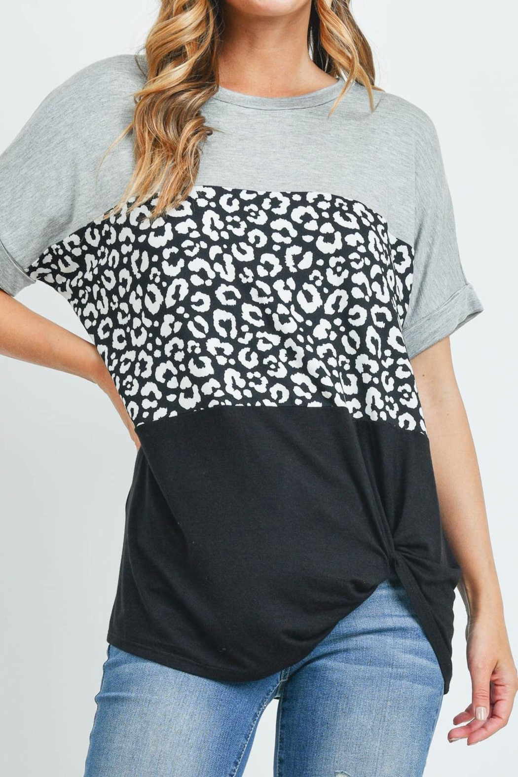 Riah Fashion Rolled-Sleeve-Leopard-Contrast-Top - Main Image