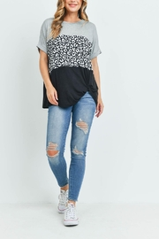 Riah Fashion Rolled-Sleeve-Leopard-Contrast-Top - Other