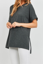 Riah Fashion Rolled-Sleeve-Side-Slit-Top - Product Mini Image