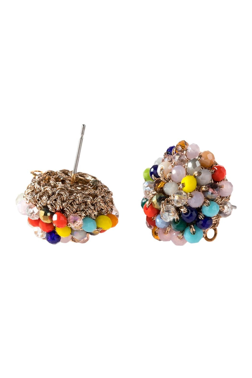 Riah Fashion Rondelle Post Earrings - Front Full Image
