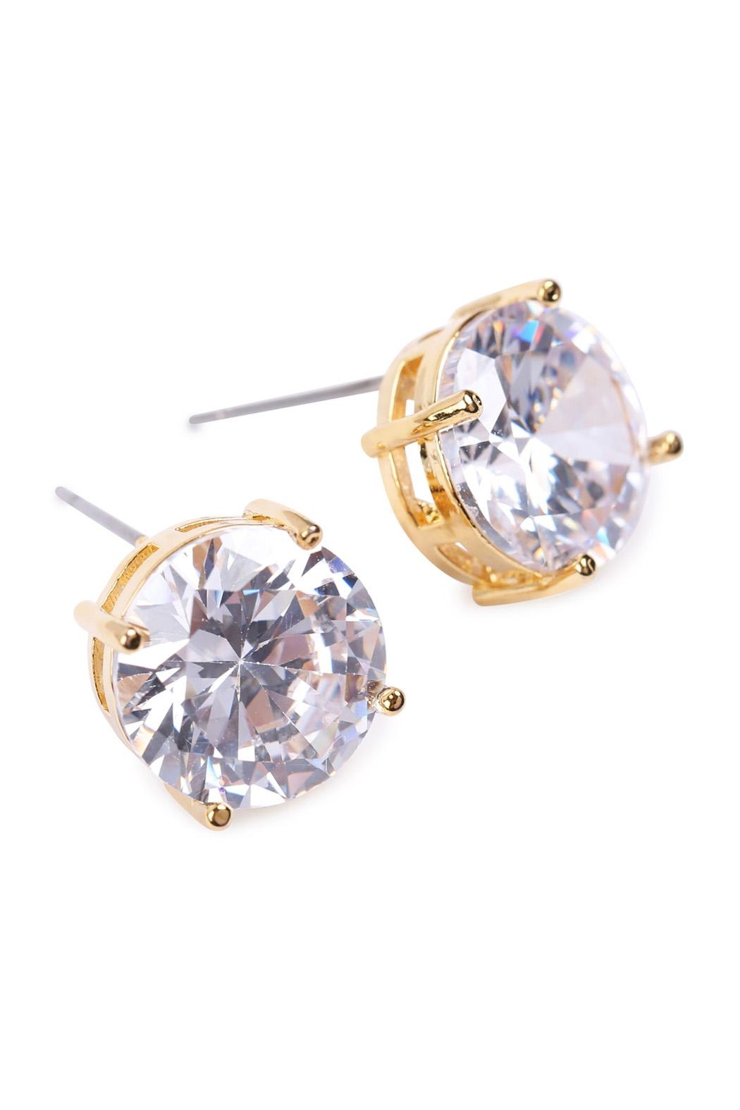 Riah Fashion Round Cubic-Zirconia Post-Back-Earrings - Side Cropped Image