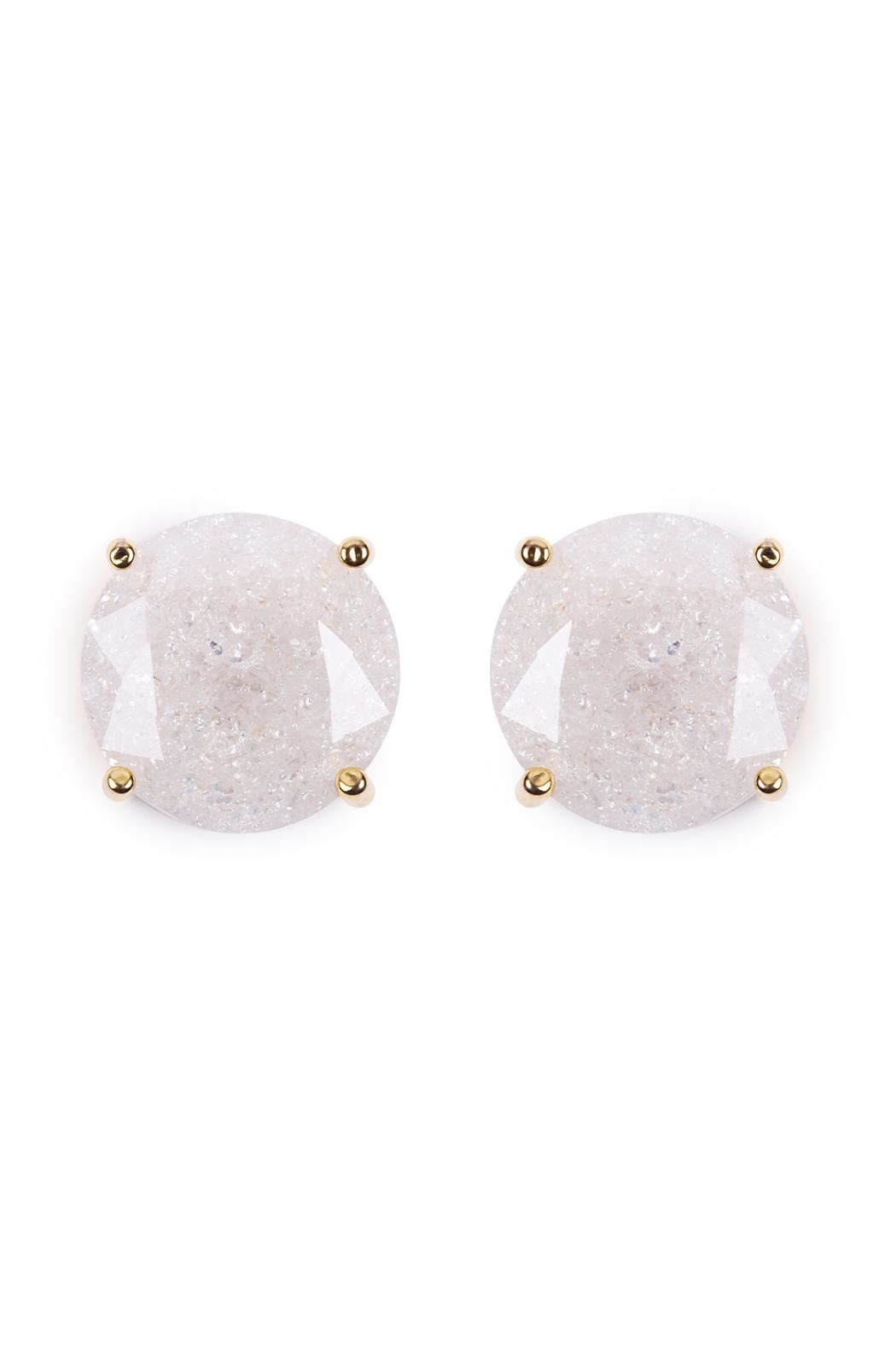 Riah Fashion Round Cubic-Zirconia Post-Back-Earrings - Front Cropped Image