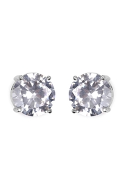 Riah Fashion Round Cubic-Zirconia Post-Back-Earrings - Front cropped