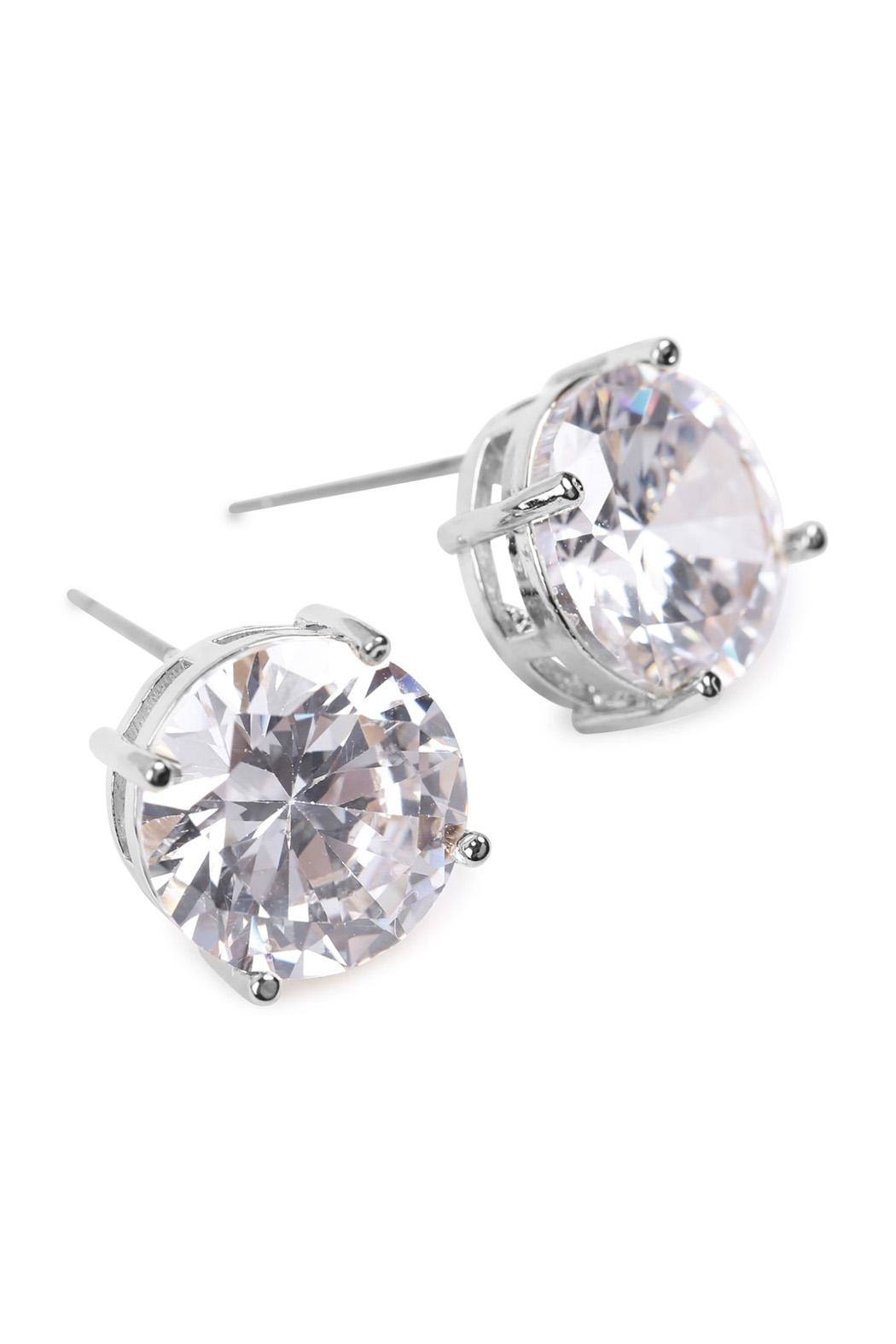 Riah Fashion Round Cubic-Zirconia Post-Back-Earrings - Front Full Image