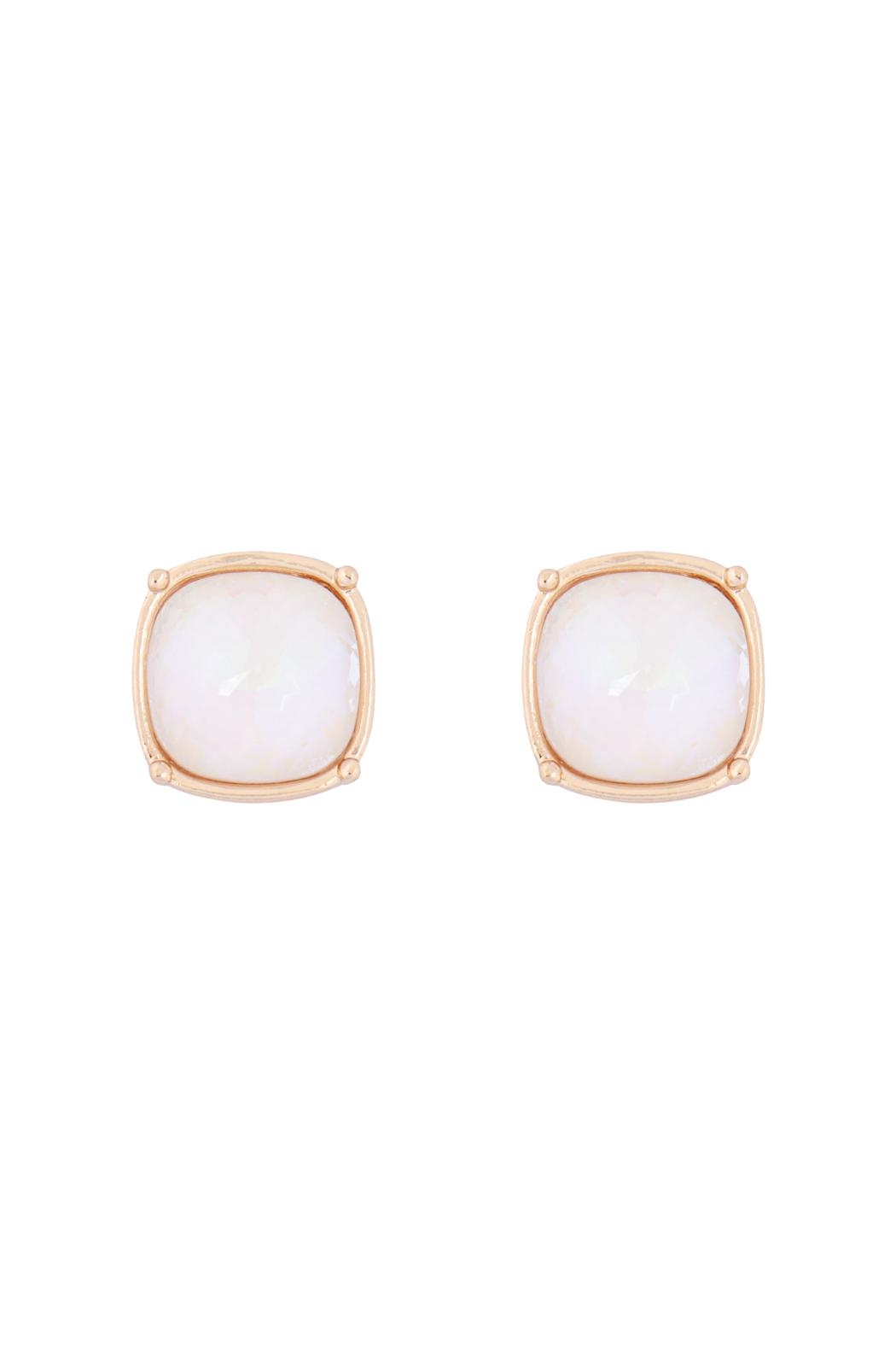 Riah Fashion Round Cushion Cut Post Earrings - Front Cropped Image