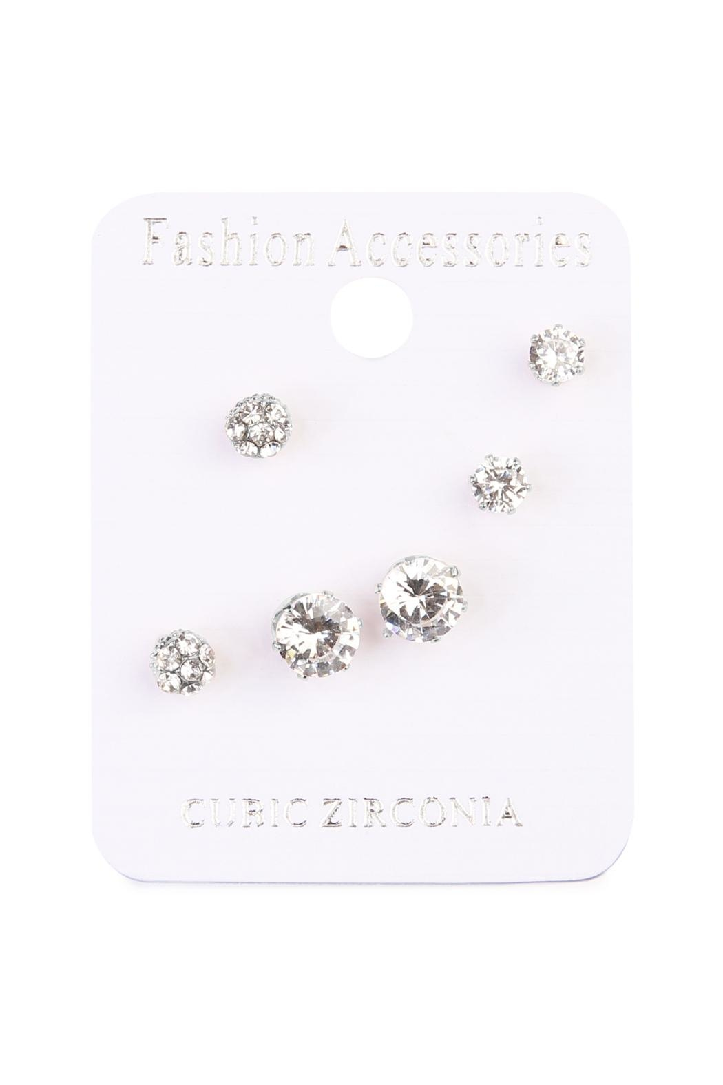Riah Fashion Round Cut Stud Earrings - Front Full Image