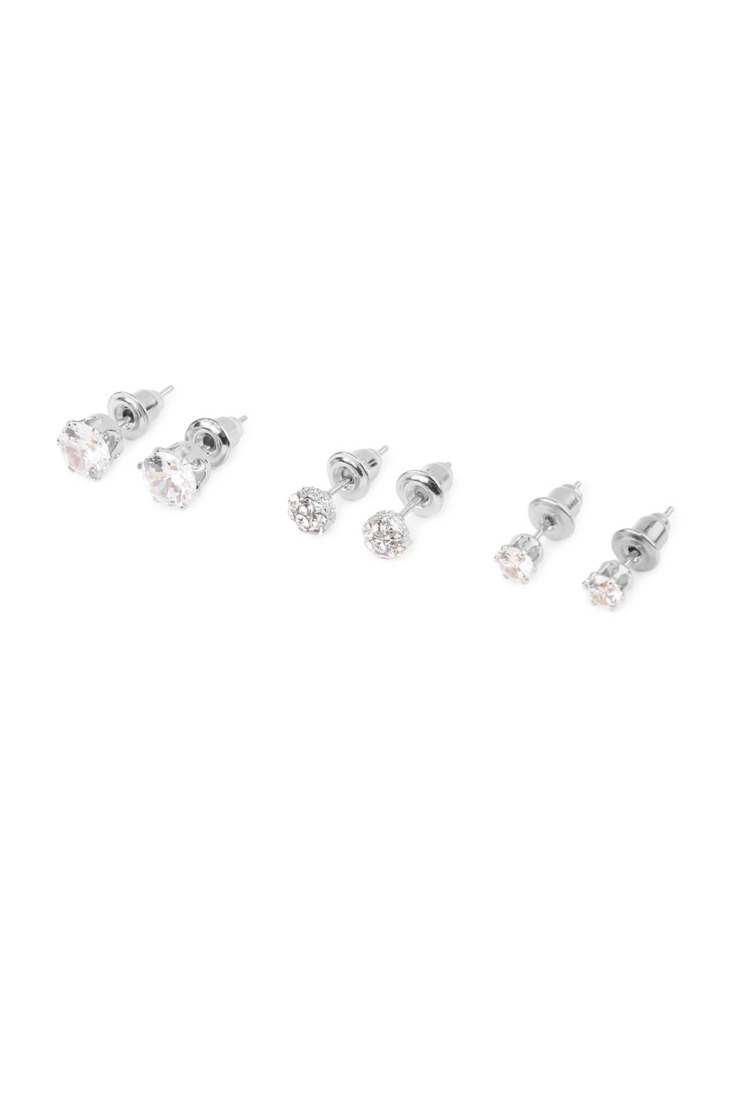 Riah Fashion Round Cut Stud Earrings - Side Cropped Image