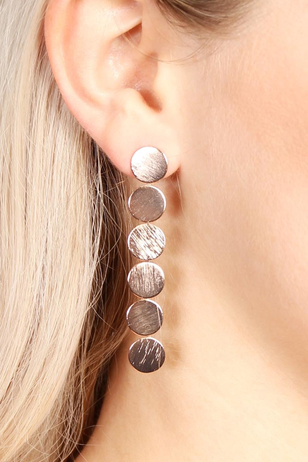 Riah Fashion Round Disc Drop Earrings - Front Full Image