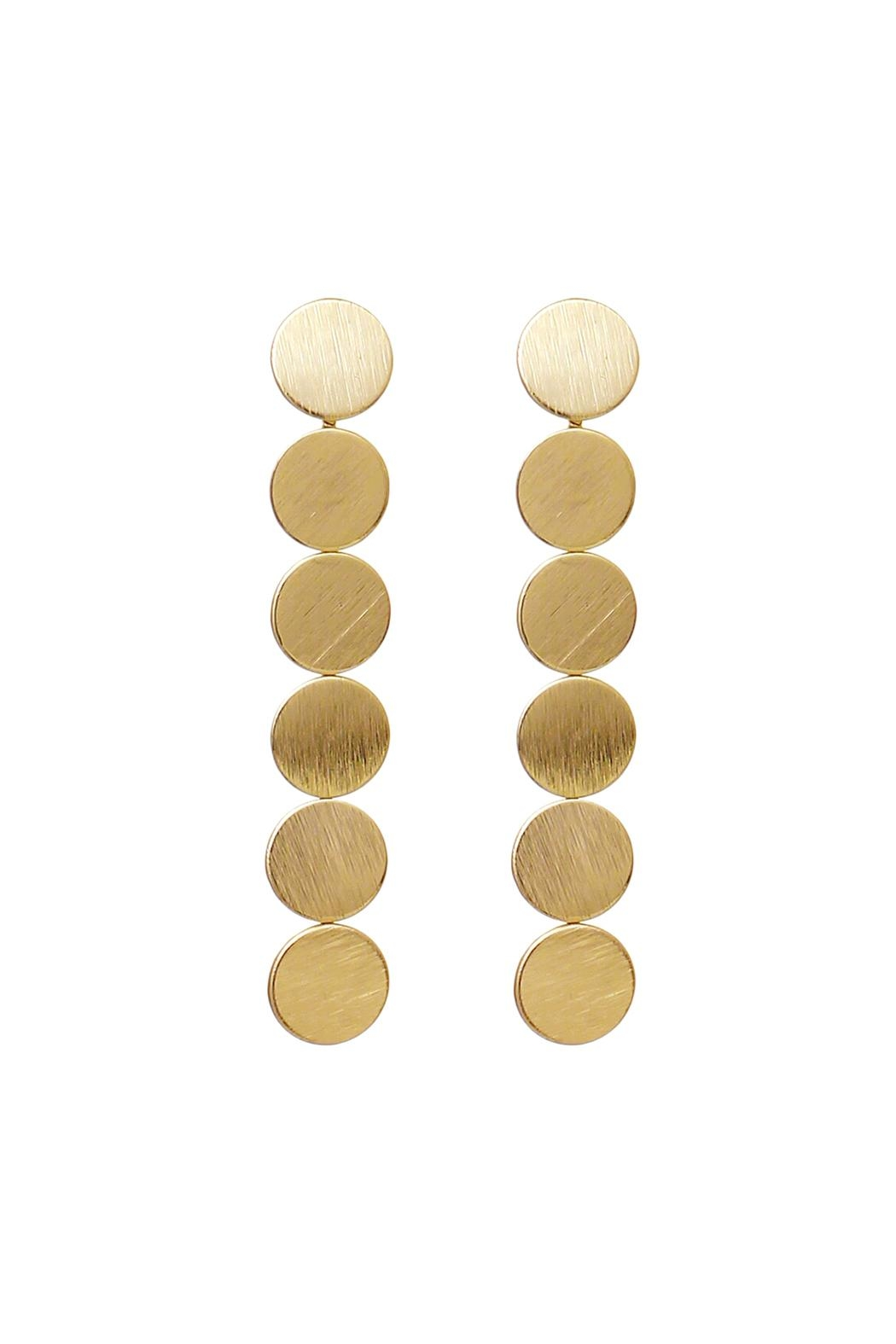 Riah Fashion Round Disc Drop Earrings - Main Image