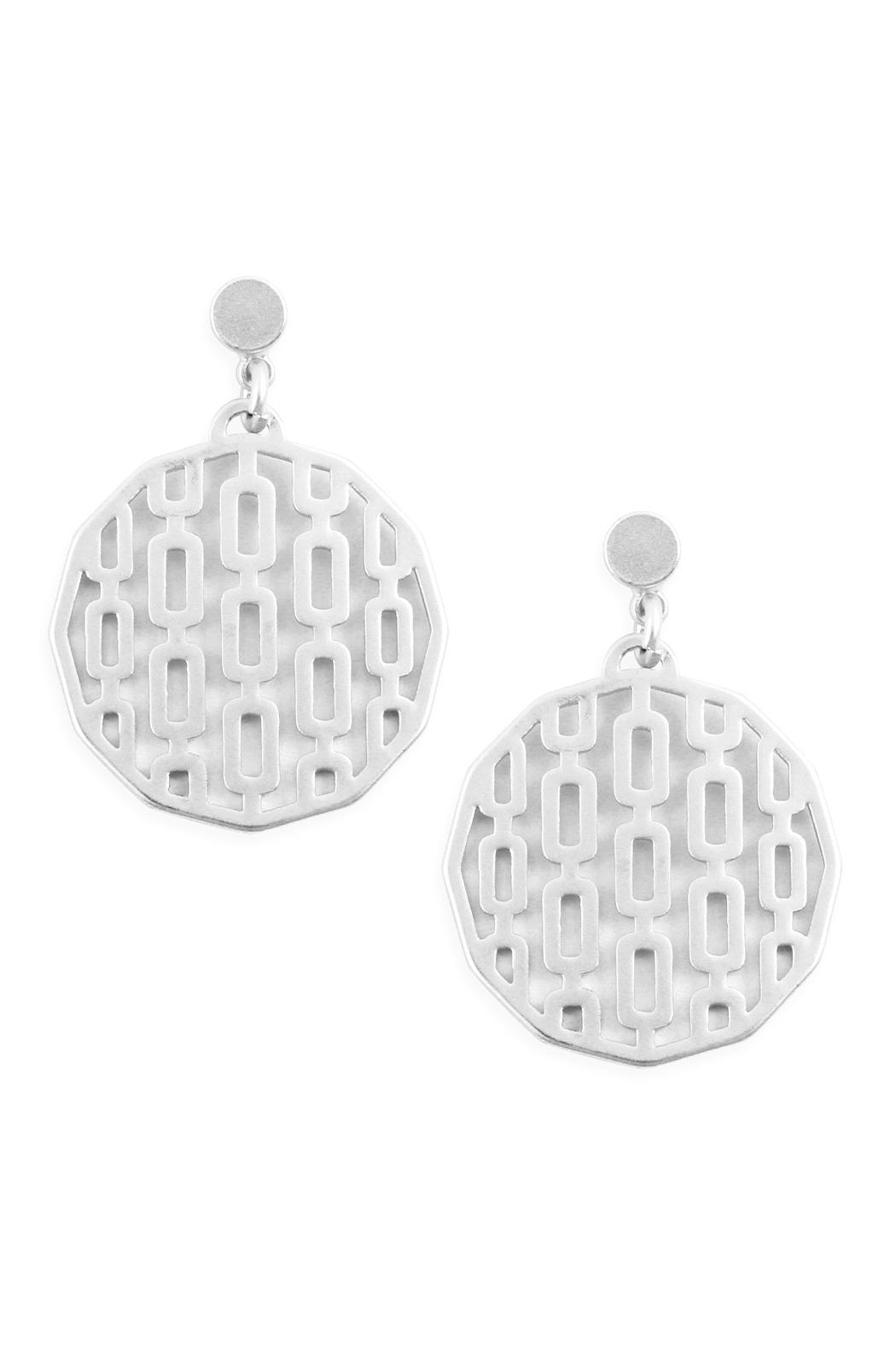 Riah Fashion Round Filigree Post-Drop-Earring - Front Cropped Image