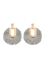 Riah Fashion Round Fringe Tassel-Post-Earring - Front cropped