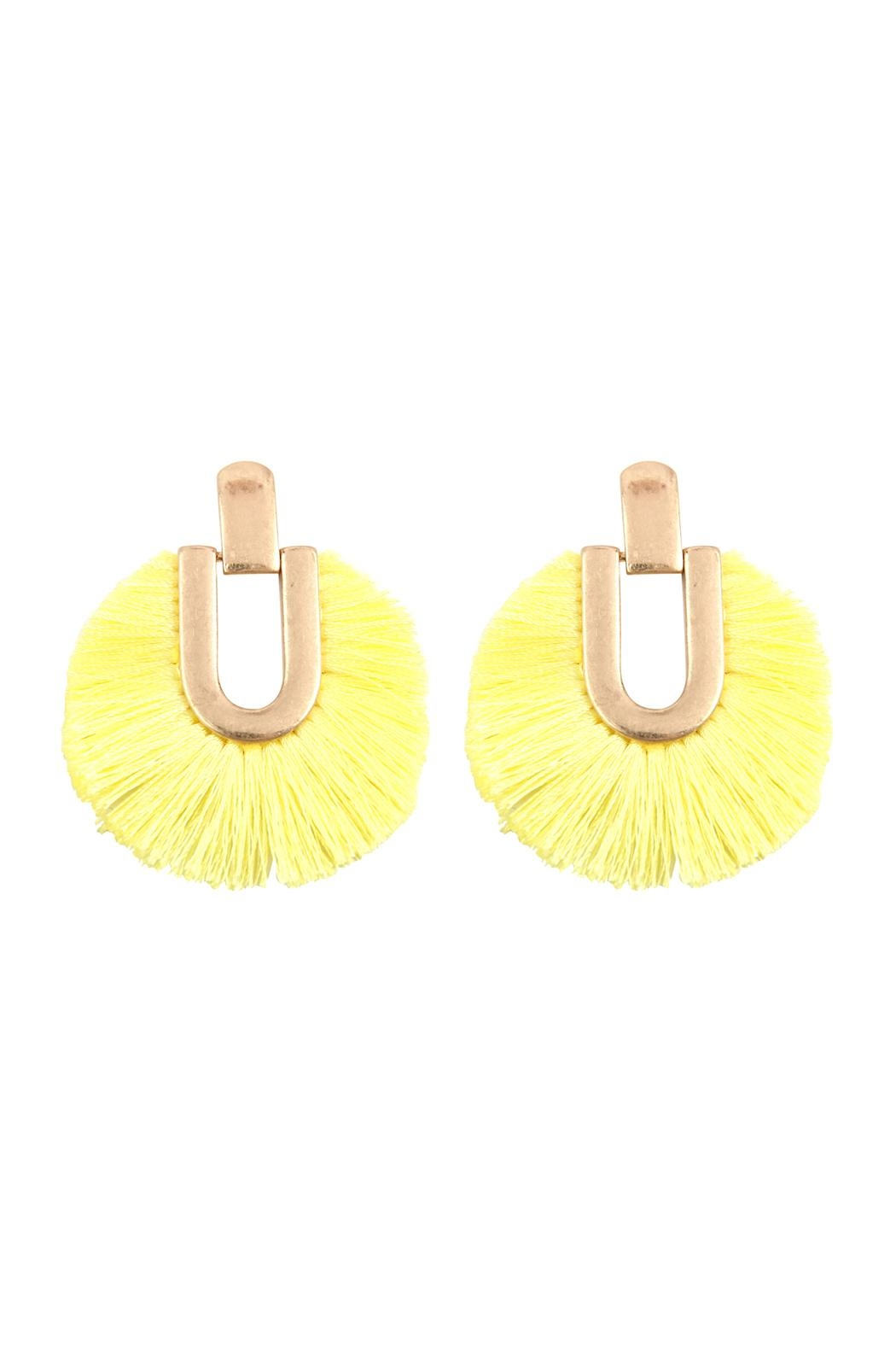 Riah Fashion Round Fringe Tassel-Post-Earring - Front Cropped Image