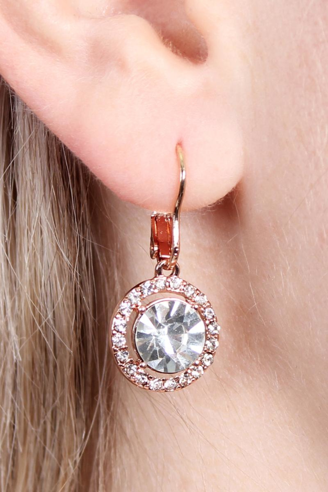 Riah Fashion Round-Lever Back Crystal-Earrings - Side Cropped Image