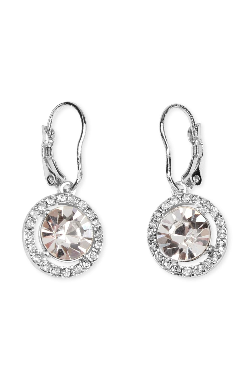 Riah Fashion Round-Lever Back Crystal-Earrings - Front Cropped Image