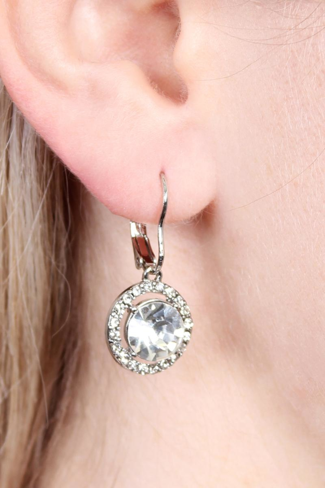 Riah Fashion Round-Lever Back Crystal-Earrings - Front Full Image
