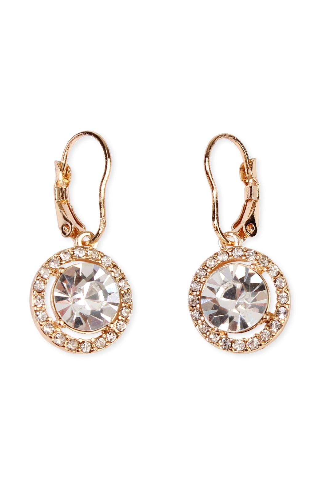 Riah Fashion Round-Lever Back Crystal-Earrings - Main Image