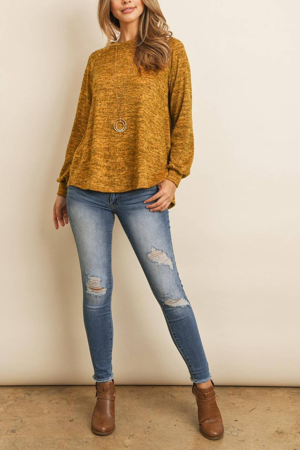 Riah Fashion Round-Neck-Hacci-Sweater - Front Cropped Image