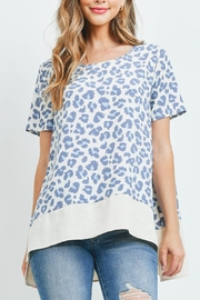 Riah Fashion Round-Neck-Leopard-Print-Airflow-Contrast-Top - Product Mini Image