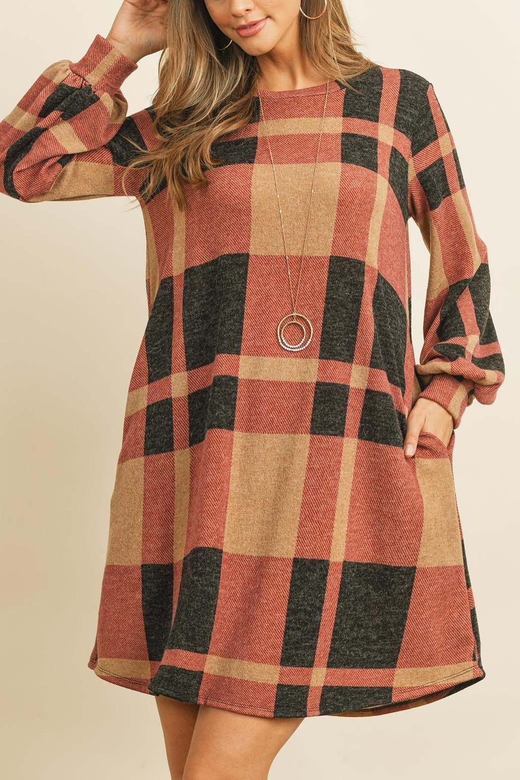 Riah Fashion Round-Neck-Puff-Sleeved-Plaid-Knee-Length-Dress - Front Full Image