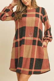 Riah Fashion Round-Neck-Puff-Sleeved-Plaid-Knee-Length-Dress - Front full body