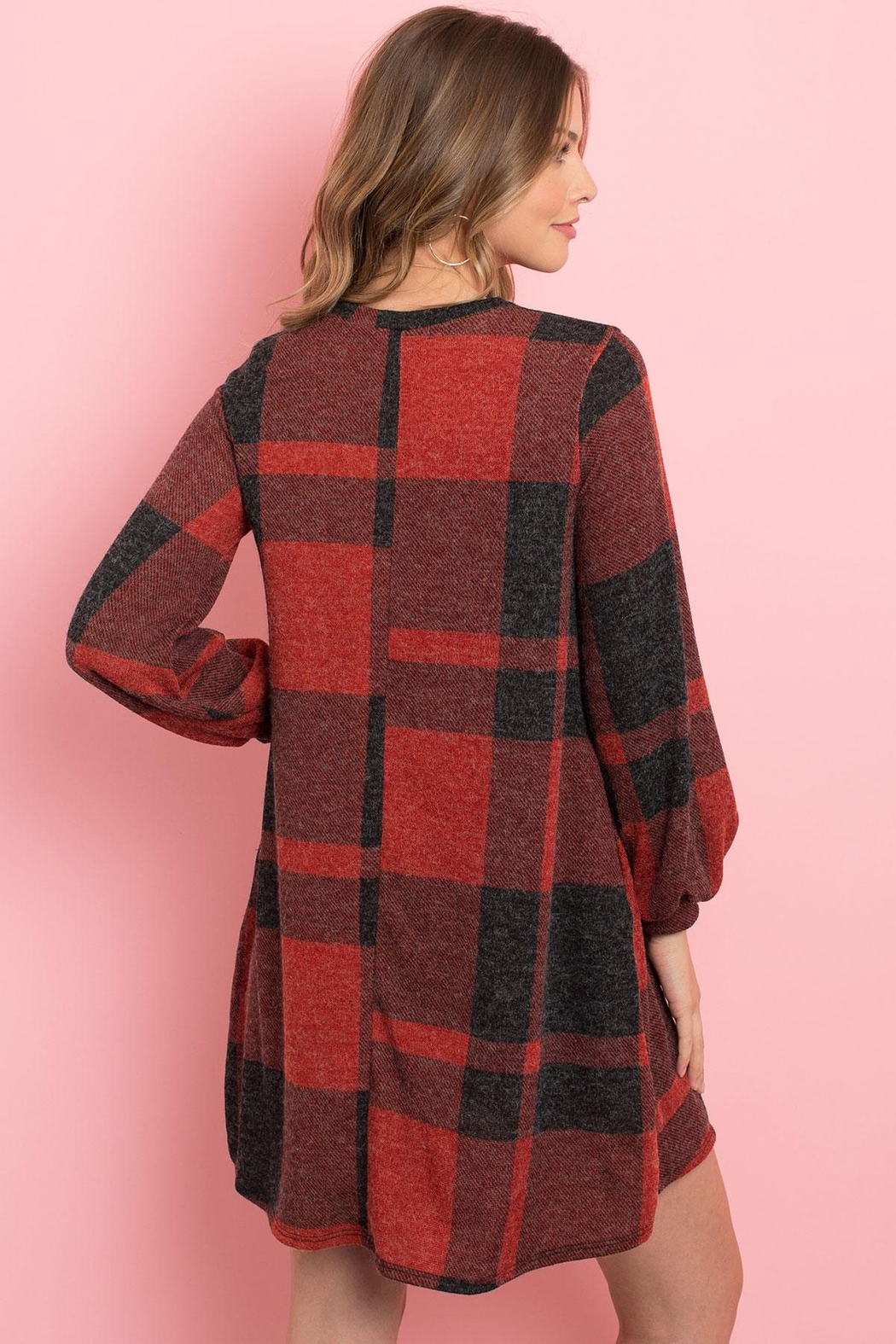 Riah Fashion Round-Neck-Puff-Sleeved-Plaid-Knee-Length-Dress - Side Cropped Image