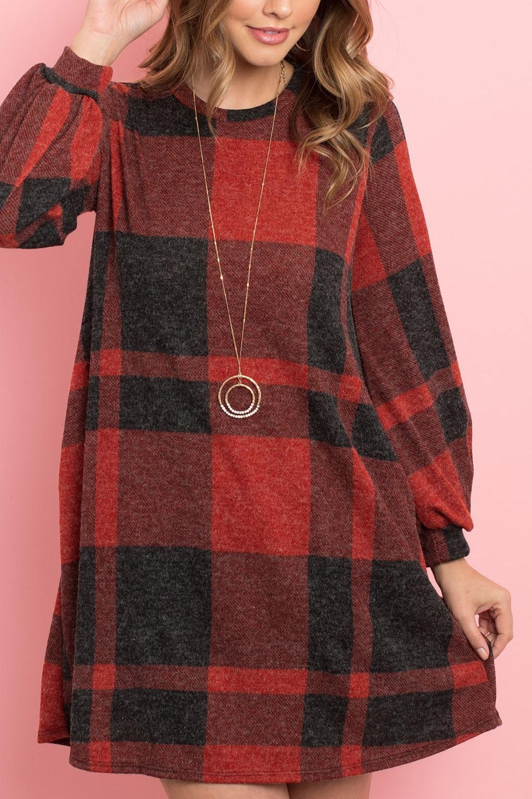 Riah Fashion Round-Neck-Puff-Sleeved-Plaid-Knee-Length-Dress - Front Cropped Image