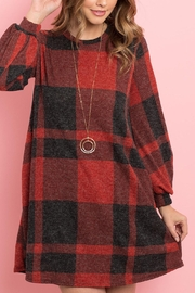 Riah Fashion Round-Neck-Puff-Sleeved-Plaid-Knee-Length-Dress - Front cropped