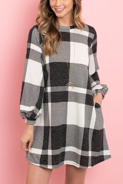 Shoptiques Product: Round-Neck-Puff-Sleeved-Plaid-Knee-Length-Dress