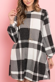 Riah Fashion Round-Neck-Puff-Sleeved-Plaid-Knee-Length-Dress - Side cropped