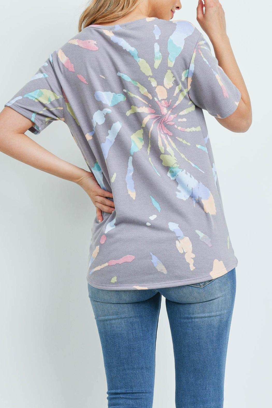 Riah Fashion Round-Neck-Tie-Dye-Twist-Front-Top - Front Full Image
