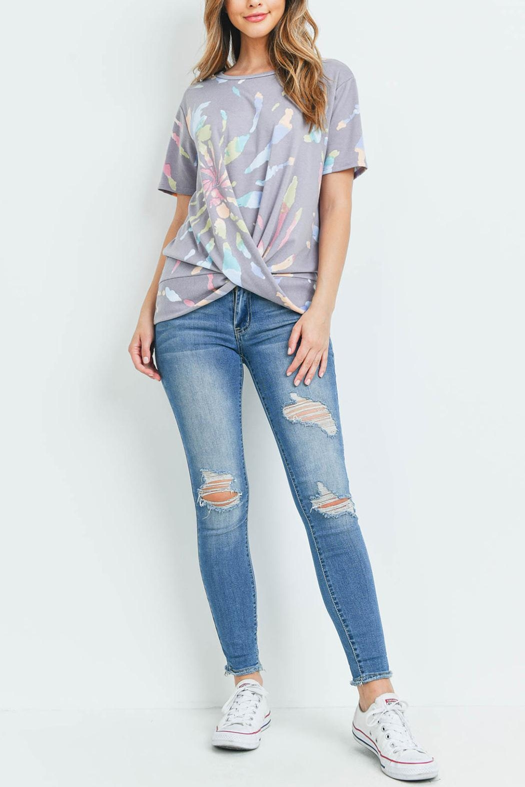 Riah Fashion Round-Neck-Tie-Dye-Twist-Front-Top - Side Cropped Image