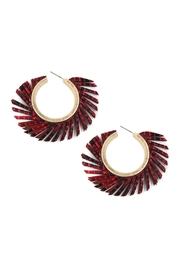 Riah Fashion Round-Pu-Fringed Leather-Hoop-Earrings - Product Mini Image