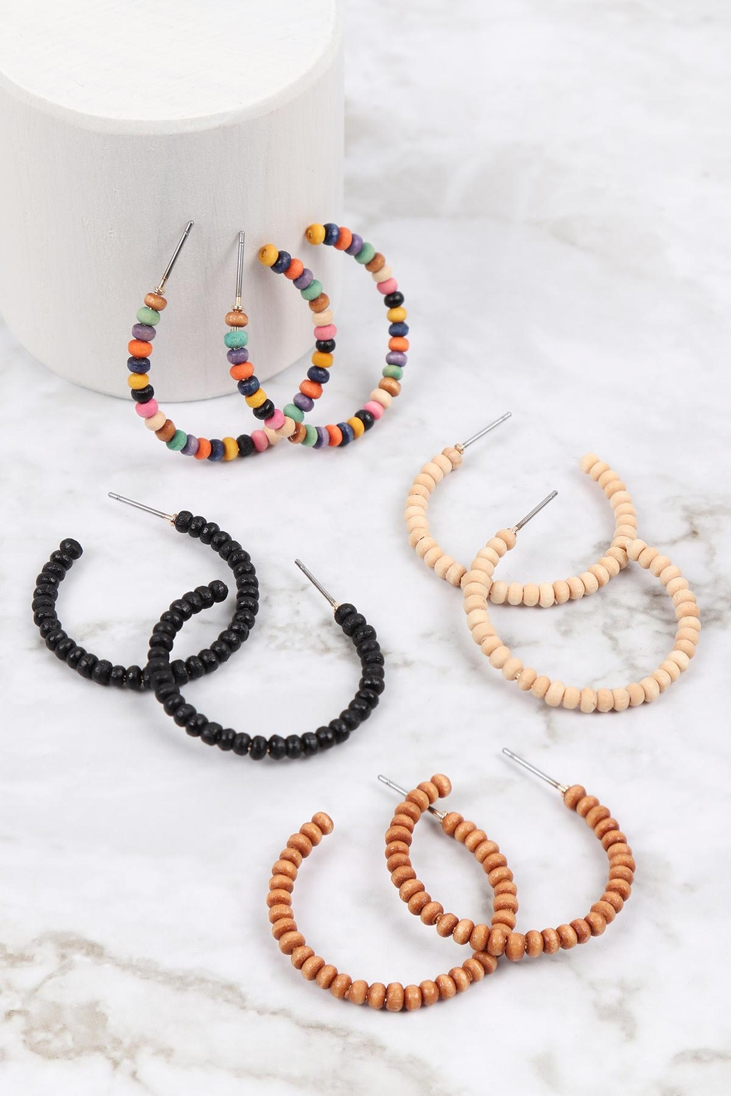 Riah Fashion Round-Shape-Beaded-Wood-Hoop-Earrings - Front Full Image