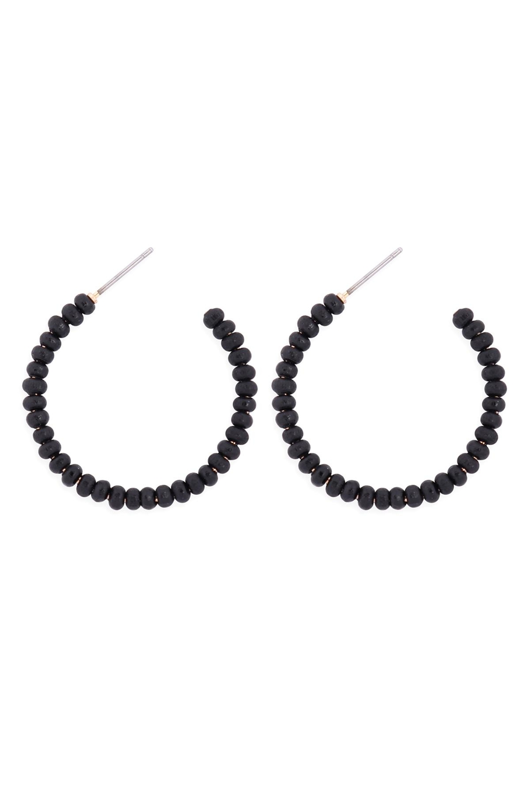 Riah Fashion Round-Shape-Beaded-Wood-Hoop-Earrings - Main Image