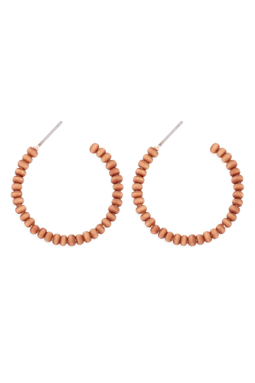 Riah Fashion Round-Shape-Beaded-Wood-Hoop-Earrings - Front Cropped Image
