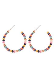Riah Fashion Round-Shape-Beaded-Wood-Hoop-Earrings - Front cropped