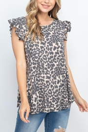 Riah Fashion Ruffle-Cap-Sleeve-Round-Neck-Leopard-Thermal-Top - Product Mini Image