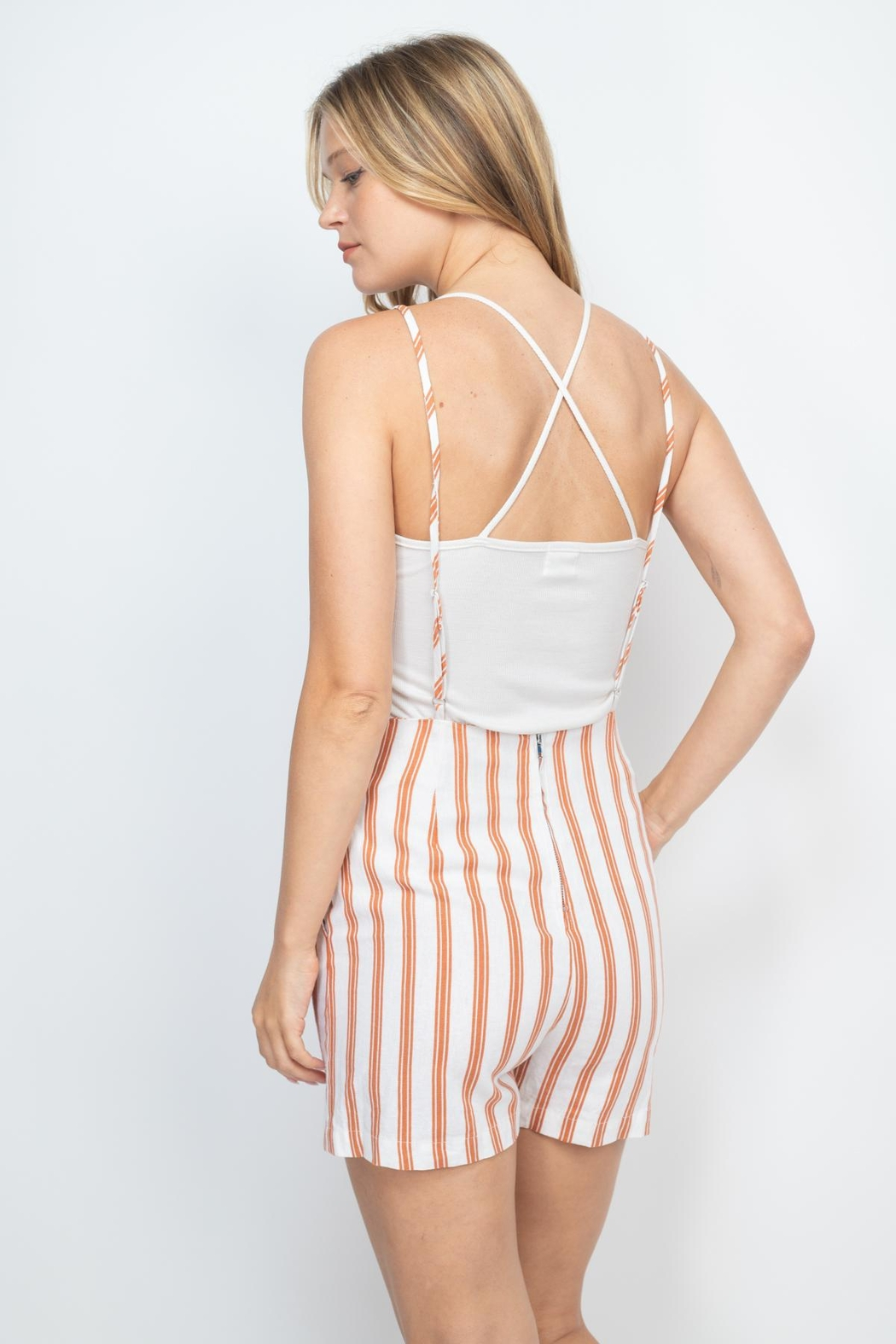 Riah Fashion Rust-Ivory-Stripes-Romper - Front Full Image