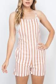 Riah Fashion Rust-Ivory-Stripes-Romper - Front cropped