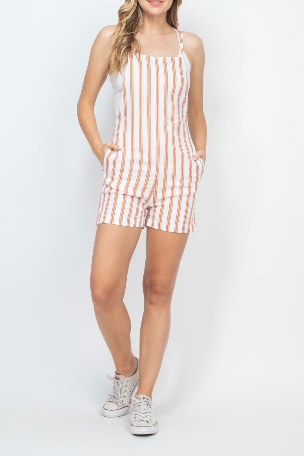Riah Fashion Rust-Ivory-Stripes-Romper - Side Cropped Image
