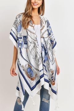 Riah Fashion Sailors Inspired Pattern Open Front Kimono - Product List Image